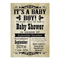 Vintage Country Boy Baby Shower Invitation