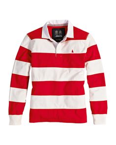 traditional MUSTO red and white stripe rugby shirt