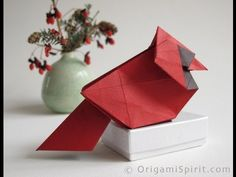 Origami Northern Cardinal, Step-by-step video to fold a Holiday Ornament