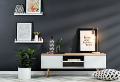 Scandi-style living room with latest season furniture, lighting and decor. Love the dark charcoal feature wall too! Dark Furniture, Furniture Styles, Furniture Dolly, Rustic Furniture, Scandi Living Room, Living Room Decor, Feature Wall Living Room, Charcoal Walls, Living Room Tv Unit Designs