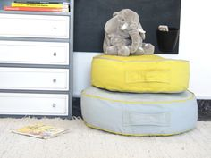 Floor Cushion Ottoman Pouf  Yellow or Grey Toddler by LoopingHome