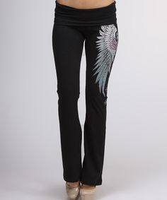 Look at this Black Fleur-de-Lis Foldover Yoga Pants on #zulily today!