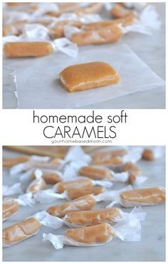 Homemade Soft Caramels - This homemade soft caramel is so delicious. Creamy and soft! They make the perfect homemade treat gift for neighbors and friends. Caramel Recipes, Candy Recipes, Dessert Recipes, Soft Caramel Candy Recipe, Baileys Irish Cream, Soft Caramels Recipe, Delicious Desserts, Yummy Food, Thin Mint Cookies