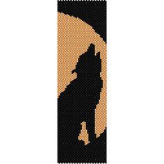 Moon Wolf Peyote Bead Pattern Bracelet Cuff Bookmark Seed