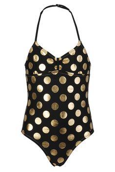 Claesen's badpak voor meisjes Black Dots Gold