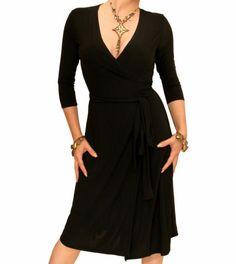 Best Seller - September 2013 Black Elegant Wrap Dress #womensfashion justblue.com