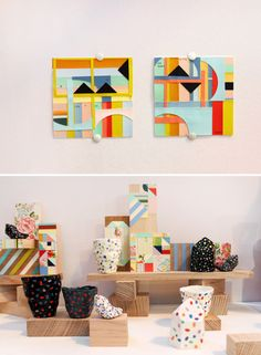 GORGEOUS collab between Leah Jackson (ceramics) and Andrea Shaw / Stampel Studio (woodblocks, collage and macrame!)