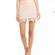 NWT  GB pink lace mini skirt Brand new light pink lace mini skirt from dillards. Make an offer! a.n.a Skirts Mini