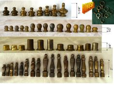 SALE 61 Metal Lamp Finials Assorted Sizes Includes Many Pairs