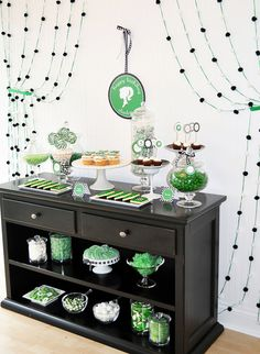 Green Candy Buffet for Birthday Party    The perfect variety of shapes, flavors, and textures is featured in this elegant green candy buffet for a birthday party.