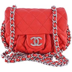 Pre-Owned Chanel Red Chain Around Mini Classic Flap, Small Crossbody... ($2,399) ❤ liked on Polyvore featuring bags, handbags, shoulder bags, red, quilted chain shoulder bag, shoulder strap bag, chain strap crossbody, chain strap shoulder bag and crossbody purse