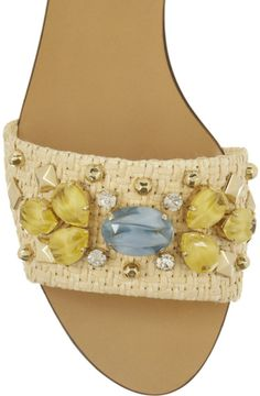Dolce & Gabbana Crystalembellished Raffia Sandals in White