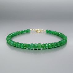 Stunning deep green genuine Emerald bracelet with 14K gold clasp - gift idea by gemorydesign. Explore more products on http://gemorydesign.etsy.com