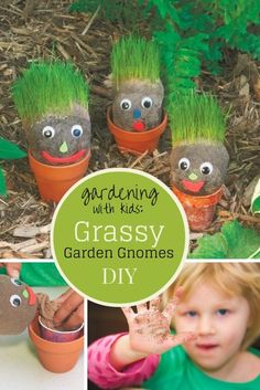 How to make these grassy garden gnomes a great project for kids., Crafty Garden Projects for kids Diy Garden Projects, Projects For Kids, Crafts For Kids, Craft Projects, Kids Diy, 4 Kids, Preschool Crafts, Garden Club, Garden Art