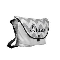 Grey and White Chevron Modern Diaper Bag Commuter Bags