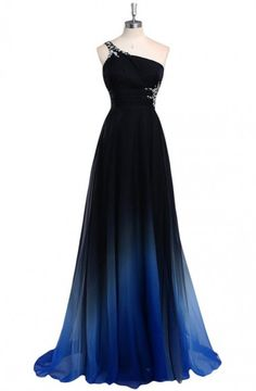 Dreamy A-line One Shoulder Sweep Train Chiffon Prom/Evening Dress With Beads