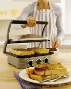 Cuisinart Griddler Grill, Griddle & Panini Press:  A true multitasker, this innovative appliance gives you lots of options for delicious meals. Thanks to interchangeable nonstick plates, it can cook everything from panini, pancakes and French toast to grilled steaks and chicken breasts.
