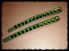 Only $8 http://www.etsy.com/listing/97331126/swarovski-hair-clip-green-clip-with