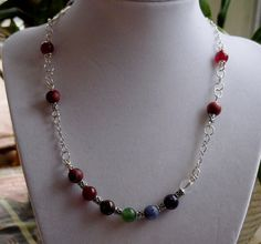 Chakra Necklace 7  Chakra  Gemstones for Balance and Harmony of your Chakras or energy centers by CherylsHealingGems, $40.00. Comes in a gift box with a description card for each stone.