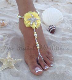 NEW  Light Yellow Starfish Bridal Barefoot Sandals Starfish