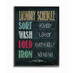 "Stupell Industries 'Laundry Schedule' Framed Textual Art Size: 14"" H x 11"" W x 1.5"" D"