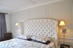 Diamond Tufted Slightly Arched Linen Wingback Headboard (King, Extra Tall) by samanthadanielle on Etsy https://www.etsy.com/listing/191884153/diamond-tufted-slightly-arched-linen