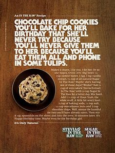 (Copy) This ad contains a long texts which is the recipe, of how their no-calorie sugar can be used in desserts which in this case, are chocolate chip cookies. Advertisement Examples, Raw Food Recipes, Cooking Recipes, Copy Ads, Coffee Supplies, Food Advertising, Creative Advertising, Advertising Design, Marketing Words