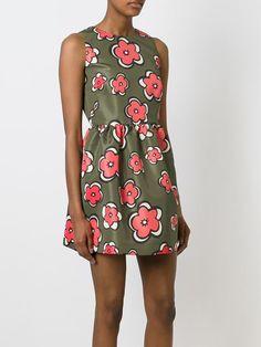 Red Valentino Sleeveless Floral Print Dress - Verso - Farfetch.com