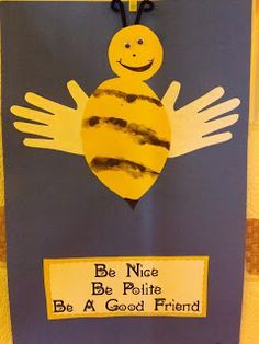 The stripes were created by stamping the side of each child's handprint. (As in the chopping motion) could also make bee using child's footprint Manners Preschool, Manners Activities, Preschool Lessons, Classroom Activities, Toddler Activities, Preschool Activities, Classroom Ideas, Preschool Bulletin, Toddler Classroom