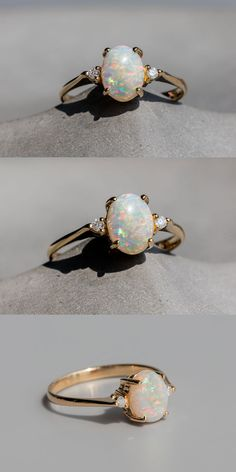 Rainbow Flake Oval Australian Solid Opal Diamond Engagement Ring Yellow Gold with Beautiful Play of Color. Every Opal piece is Unique. You won't find two exactly identical opal gems because of their unrepeatable play-of-color. Opal Diamond Engagement Ring, Yellow Engagement Rings, Engagement Ring Settings, Vintage Engagement Rings, Diamond Wedding Bands, Oval Engagement, Diamond Rings, Gold Rings, Bijou Box