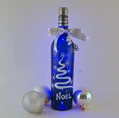 Wine bottle light, blue bottle, Noel, blue and white, hand painted, Christmas decor