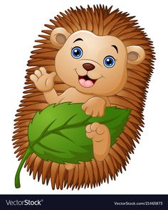 Cartoon hedgehog with holding leaf and waving hand vector image on VectorStock Cartoon Drawings, Cartoon Art, Cartoon Characters, Baby Room Pictures, Cute Pictures, Painted Rock Animals, Hedgehog Art, Cute Frames, Wood Animal