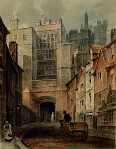 The great North Gate of Durham Castle, before its demolition in the 1820s. The fact that the gate was used as a prison would have made the entrance to the Cathedral and Castle precinct rather unpleasant. The then Bishop of Durham, Barrington, provided the necessary funds to build a new prison, and remove what was seen by many as a nuisance.