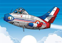 "M D 450 Hurricane in the colors of the Patrouille de France. This aircraft belongs to the 2/4 ""Lafayette"" based in Bremgarten in 1956. It was the first jet of Marcel Dassault and the first jet of French design built in series. His career with the Air Force (1952 to 1957) was short. India and Israel commanded 104 copies for the first and 71 for the second."
