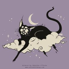 Strange Many Eyed Black Cat On Cloud With Lighting Bolt Art Print by CellsDividing - X-Small Black Cat Aesthetic, Black Cat Drawing, Black Cat Illustration, Vent Art, Witch Cat, Surrealism Painting, Poster Prints, Art Prints, Posca