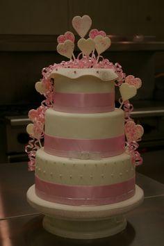 hearts and ribbons wedding cake