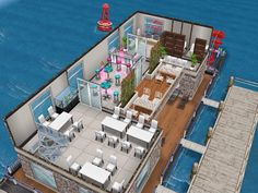 House 52 Boat Restaurant (level 2) #sims #simsfreeplay #simshousedesign Sims Freeplay Cheats, Casas The Sims Freeplay, Sims Freeplay Houses, Sims 4 Houses, Boat Restaurant, Sims Free Play, Sims House Design, Sims 4 Build, Sims 3