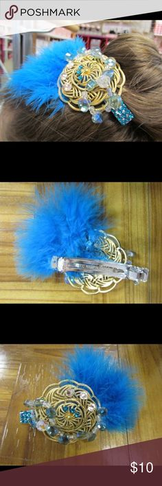 """Blue Feather barrette www.GlitzAgain.com.   One of a Kind Hair Accessory. Hand Made. Contains Swarovski rhinestones and High quality beads, blue feathers, gold colored metal base and Made in France Barrette.  """"Made in France"""" Barrett's are of the highest quality and most reliable and well made barrettes there are.  This would look AMAZING with Any costume containing Blue or Green Turquoise Accents. Jewelry"""