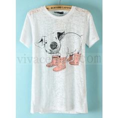 White Short Sleeve Pig Print T-Shirt