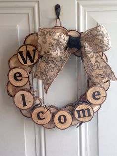 Wood burned wood disc wreath