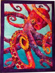 """Octavius Rex (Carlson) Von Kraken"" by Pam Munns - Student of Susan Carlson Fiber Art Quilts, Fish Quilt, Collage Techniques, Sea Crafts, Animal Quilts, Applique Quilts, Quilting Designs, Quilting Templates, Quilt Design"