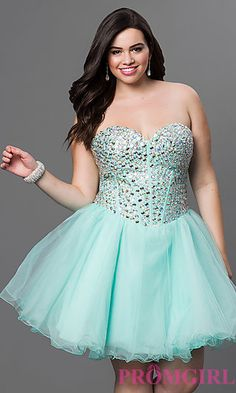Corset Back Strapless Babydoll Dress with Jeweled Bodice at PromGirl.com