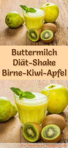 Buttermilch-Shake mit Birne, Kiwi und Apfel - ein Rezept mit viel Eiweiß und wenig Kalorien, perfekt zum Abnehmen, gesund und lecker ...