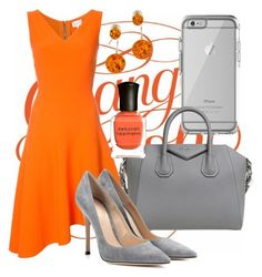 """""""Orange Crush"""" by rozlynjanine ❤ liked on Polyvore featuring OtterBox, Givenchy, Milly, Gianvito Rossi, Be-Jewelled and Deborah Lippmann"""