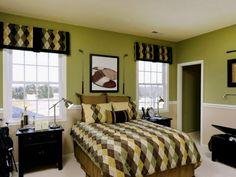Bedroom, Best Teenage Boys Bedroom Decorating Ideas Gorgeous Tween Boys Room Ideas With Calm Green Color Wall Shades And Twin Size Beds Which Has Attractive Patterned Bed Sheet Plus Black Finish Oak Nightstand Under Cool Folding Bed Lamps