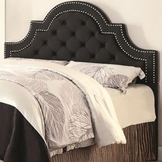 Upholstered Beds Ojai Button-Tufted Upholstered Scooped Arched Queen- or Full-Size Headboard with Nail Head Trim