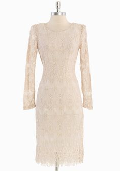"""Buchanan Romance Lace Dress 49.99 at shopruche.com. We adore the elegant sophistication of this beige lace dress with a delicate eyelash fringe hem, shoulder pads, and sheer sleeves for a demure silhouette. Semi-sheer. Fully lined.100% Polyester, Imported, 42"""" length from top of shoulders"""
