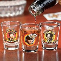 Three Stooges Shot Glass Set