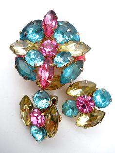 Pastel Rhinestone Brooch Earrings Set, BEAU JEWELS, Demi Parure Vintage by RenaissanceFair on Etsy https://www.etsy.com/listing/261011219/pastel-rhinestone-brooch-earrings-set