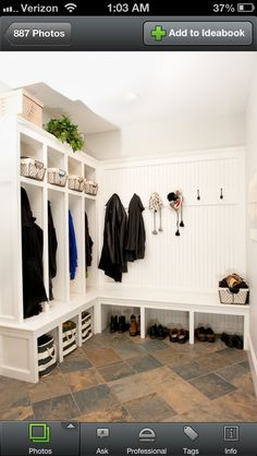 Mudroom - would do shelves for double rows of shoes